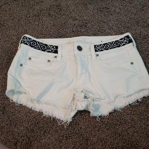 White denim AE Festival Shorts